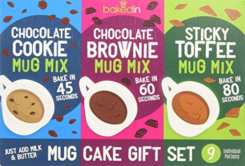 Bakedin Mug Cake Gift Set, 505g - 9 Mug Cake mixes (3 Mug Brownie mixes, 3 Mug Cookie mixes, 3 Sticky Toffee Mug Pudding mixes)