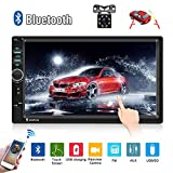 Car Radio Double Din Car Stereo 7' LCD Touch Screen in-Dash Head Unit with Bluetooth Support Mirror Link/DVR/USB/FM/SD/MMC MP3 +Rear View Camera& Remote Control