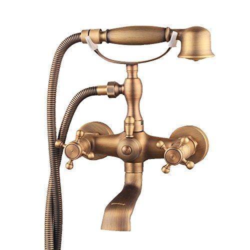 hiendure® Wandhalterung Zwei Griffe Badewanne Wasserhahn mit Handbrause Messing antik Finish