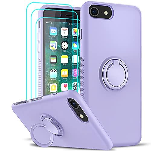 LeYi Funda para iPhone 8 / iPhone 7 / iPhone 6S / iPhone 6 / SE 2020 con [3-Unidades Cristal Templado], Carcasa Silicona Gel Líquida Suave y Antigolpes PC Case 360 Anillo Soporte Cover, Morado