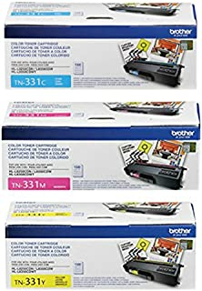 Brother Genuine TN331C, TN331M, TN331Y Color Laser Cyan, Magenta and Yellow Toner Cartridge Set
