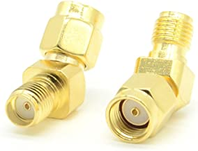 2pcs RF adapter RP-SMA male to SMA female 45 degree gold plate