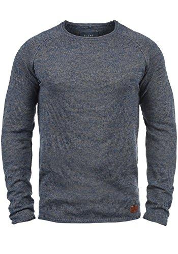 Blend Dan Herren Strickpullover Feinstrick Pullover Mit Rundhals Und Melierung, Größe:L, Farbe:Ensign Blue (70260)