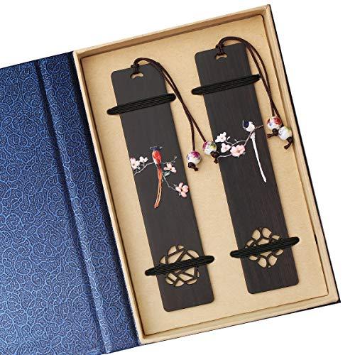 Toirxarn Handmade Wooden Bookmarks, Ideal Gifts for Women/Men/Friends/Girls/Teacher,Birthday Present.Natural Wood,Painted Craft.