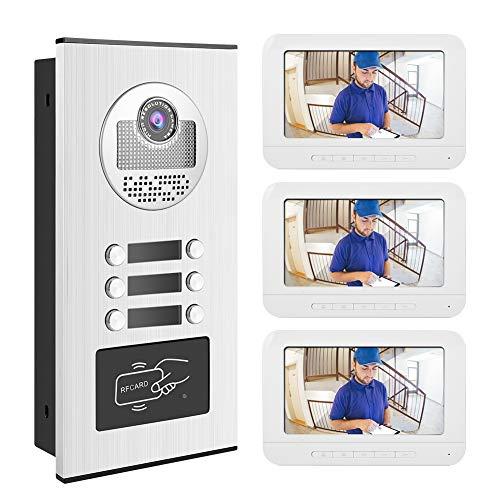 7 Pulgadas Sistema Video del Timbre, Sistema de Control de Acceso de Puerta RFID para Seguridad del hogar con Audio Bidireccional, IR Night Vision, Multi-Ring App Control