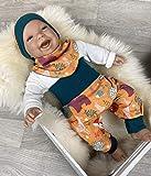 Baby Set 56 62 68 74 Hose, Mütze und Dreieckstuch, Erstausstattung, new born set, junge Pumphose Waldtiere orange petrol