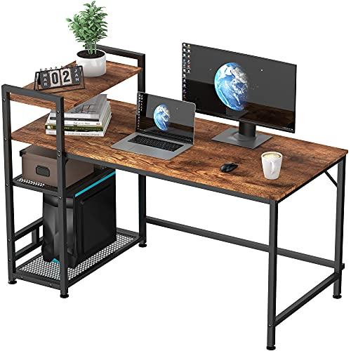 HOMIDEC Computer Desk, Computer Desk with Bookshelf, Study Computer Laptop Table with 4 Tier DIY...