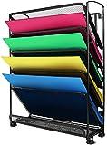 Organizador de archivos, YOMYM Titular del archivo Cuadrícula Carpeta de archivos desplegable soporte de bandeja para cartas de documentos de montaje en pared negro hierro Refuerzo de bordes (6 Capas