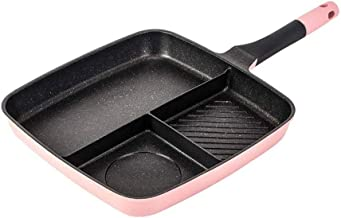 WZHZJ 3 Section Frying Pan Non Stick Skillet 3-in-1 Breakfast Pan Meal Skillet Aluminum Griddle Divided Pan, Suitable for ...