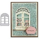 litty089 Mothcattl - Fustelle da taglio in metallo per finestra, bricolage, scrapbooking, goffratura, carta, biglietti, artigianato, stencil argento