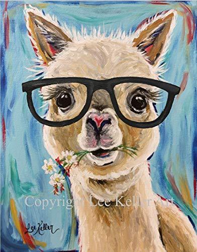 Llama with glasses art Print