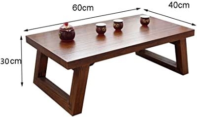 Antique Solid Wood Table Japanese Tatami Coffee Table Bay Window Table Simple Balcony Small Tea Table Platform Low Table Kang Table (Color : Brown, Size : 60 * 40 * 30cm)
