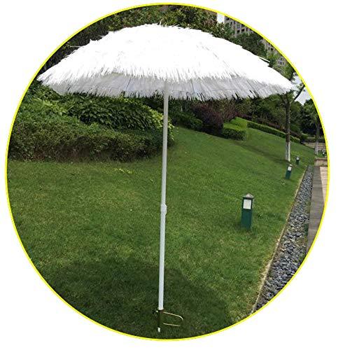 Parasol Ombrellone di Paglia Bianco 180 Cm Hula Hawaiano, Regolabile in Altezza,può Essere Utilizzato per Giardino/terrazza/Nuoto(con Ancora di Sabbia)