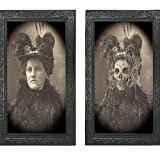 Elaine Room 3D Photo Frame Horror Ghost Lenticular Morphing Changing Moving Face Zombie Vampire Theme Halloween Party Home Wall Picture Haunted Spooky Black (C)