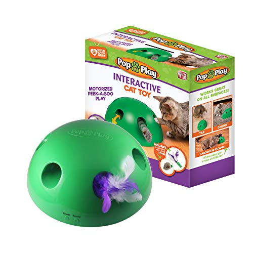 Pop N' Play Interactive Motion Cat Toy, Includes: Electronic Smart Random Moving Feather & Mouse Teaser, Mouse Squeak Sound Optional & Auto Shut Off. Best Cat Toy Ever!