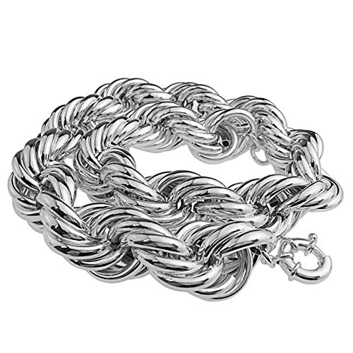Bling Cartel Huge Chain Hollow Rope Dookie 25MM Thick x 20' Inch Silver Tone Hip Hop Necklace