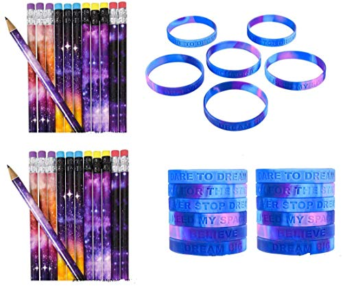 48 Piece Outer Space/Galaxy Theme Party Set ~ 24 Galaxy Pencils & 24 Inspirational Space Galaxy Bracelets ~ Classroom Rewards, Prizes & Giveaways