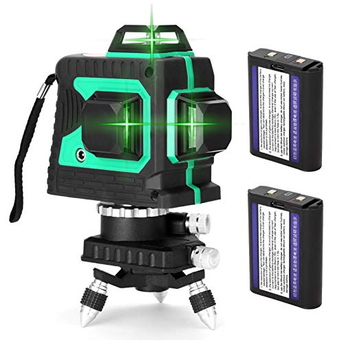 Kecheer Nivel láser autonivelante con 2 baterías,Niveles laser 360 luz verde,Nivelador laser 12 lineas 3d recargable