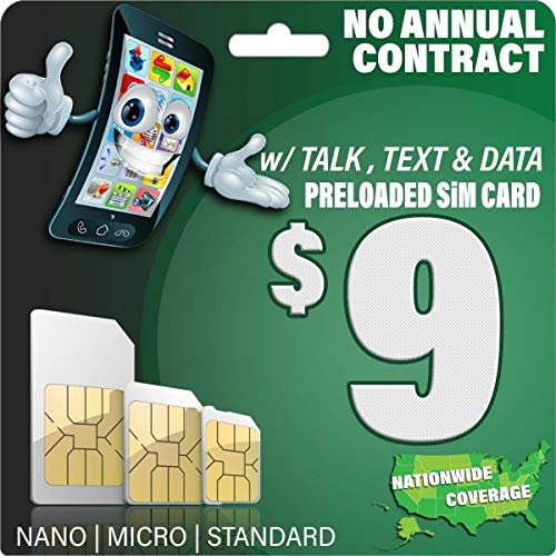 $9 GSM SIM Card - 1000 Text, 500 Mins Talk, and 500MB 2G 3G 4G LTE Data - 30 Days Nationwide Service