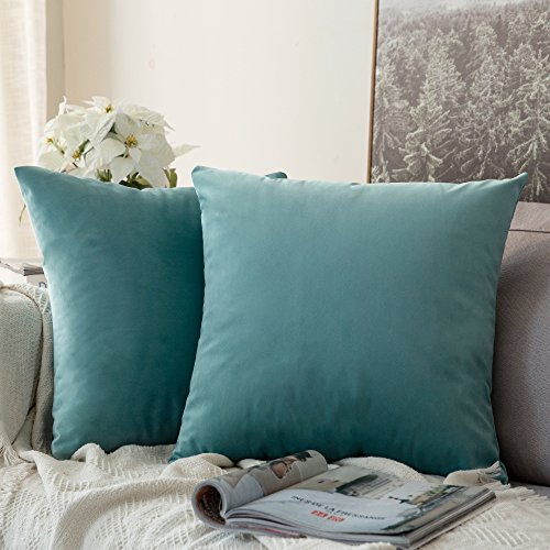 MIULEE Pack of 2 Velvet Soft Decorative Square Throw Pillow Case Cushion Covers Pillowcases for Livingroom Sofa Bedroom with Invisible Zipper 50cm x 50cm,20x20 Inches Teal Green