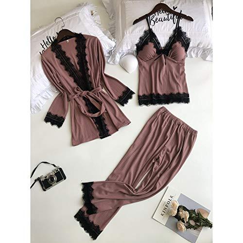 Dames Pyjama,3 Stks Elegante Katoen Vrouwen Pyjama Sets Met Borst Pads Lente Sexy Kant Lingerie Pyjama Vrouwelijke Nachtkleding Nachtkleding Homewear Pakken