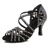 HIPPOSEUS Scarpe da Ballo Latino per Donna Nere con Strass Scarpe da Ballo per Salsa da Sala da Ballo Altezza Tacco Alto,38 EU