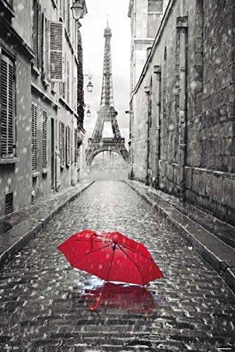 Grupo Erik Editores Paris-Paraguas Rojo - Poster, 61 x 91.5 cm