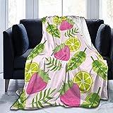 AEMAPE Fresa Tropical y patrón de Frutas de limón Tema Moda de Invierno, Manta cálida y cómoda, 127X102CM