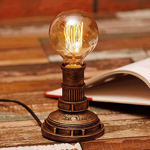 Práctico Y Simple Lámpara de Mesa Lámpara de Escritorio Luz Retro de Hierro Industrial con Tubo de Agua, Luces de Escritorio, Nostálgica Luz de Noche Rural Regulable, Cafetería Clásica Salón de Expos