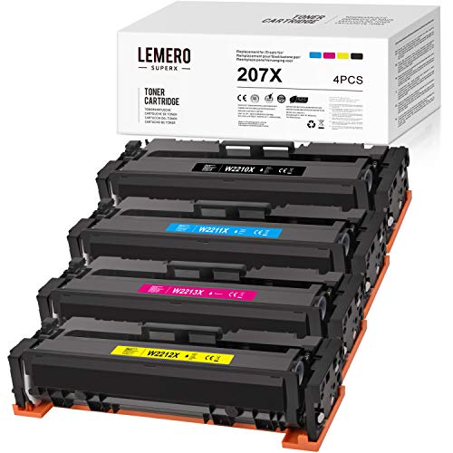 LEMERO SUPERX 207XKein Chip Kompatibel fur HP W2210X W2211X W2212X W2213X Tonerkartuschen fur HP Color Laserjet Pro M255dw MFP M282nw M283cdw M283fdw Drucker 4er Pack