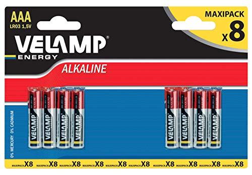 Velamp Pila alcalina MINI STILO LR03 AAA 1,5V - Blister da 8 pile, Rosso
