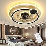 Ventilador De Techo LED Con Lámpara, Luz De Lámpara Ventilador Moderno, Velocidad Del Viento Ajustable Regulable Silencio Control Remoto, Iluminación Para Sala De Estar Y Dormitorio (B)