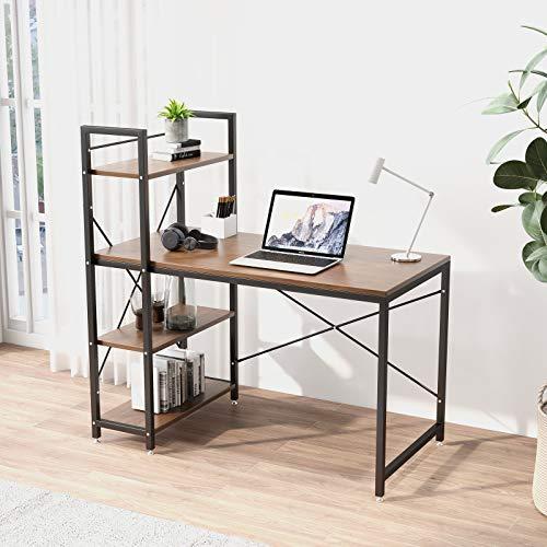 Tower Computer Desk with Shelves - 47.6 inch Study Desk with Bookshelves Compact Modern Steel Frame Wood Desk Home Office Workstation Walnut