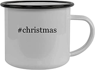 #christmas - Stainless Steel Hashtag 12oz Camping Mug, Black