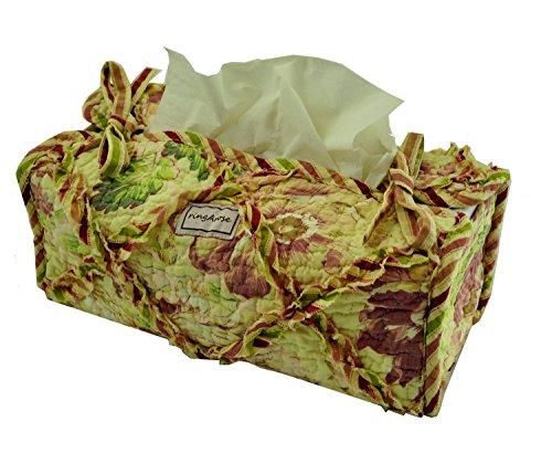 Ringarose - Contenitore per fazzoletti trapuntato, motivo floreale, 100% cotone, lavabile in lavatrice, 100 % cotone, Verde., Large