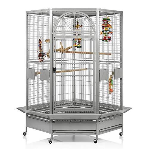 Montana Cages ® | Eckkäfig, Voliere für Papageien Denver - Eckvoliere XXL in hellgrau FRACHTFREI Papageienkäfig