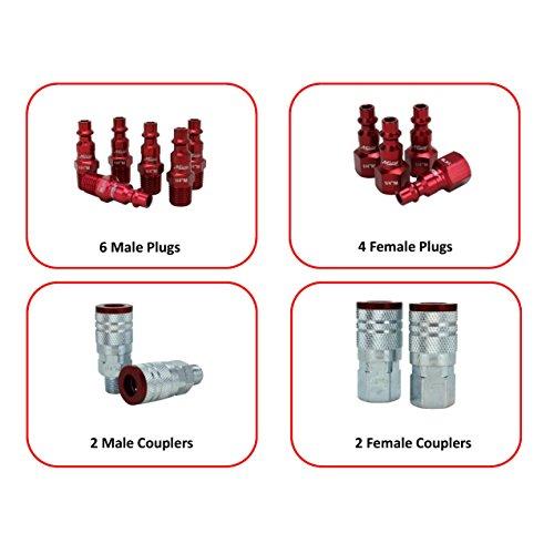 """ColorFit by Milton Coupler & Plug Kit - (M-Style, Red) - 1/4"""" NPT, (14-Piece)"""