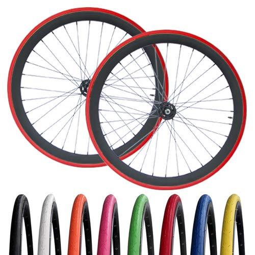 RIDDOX Laufradsatz mit farbigen Reifen Laufräder Fixie Singlespeed 700C 28 Zoll Hochflansch Fixed Gear Wheel Schwarz Matt 40 MM (Schwarz Thickslick)