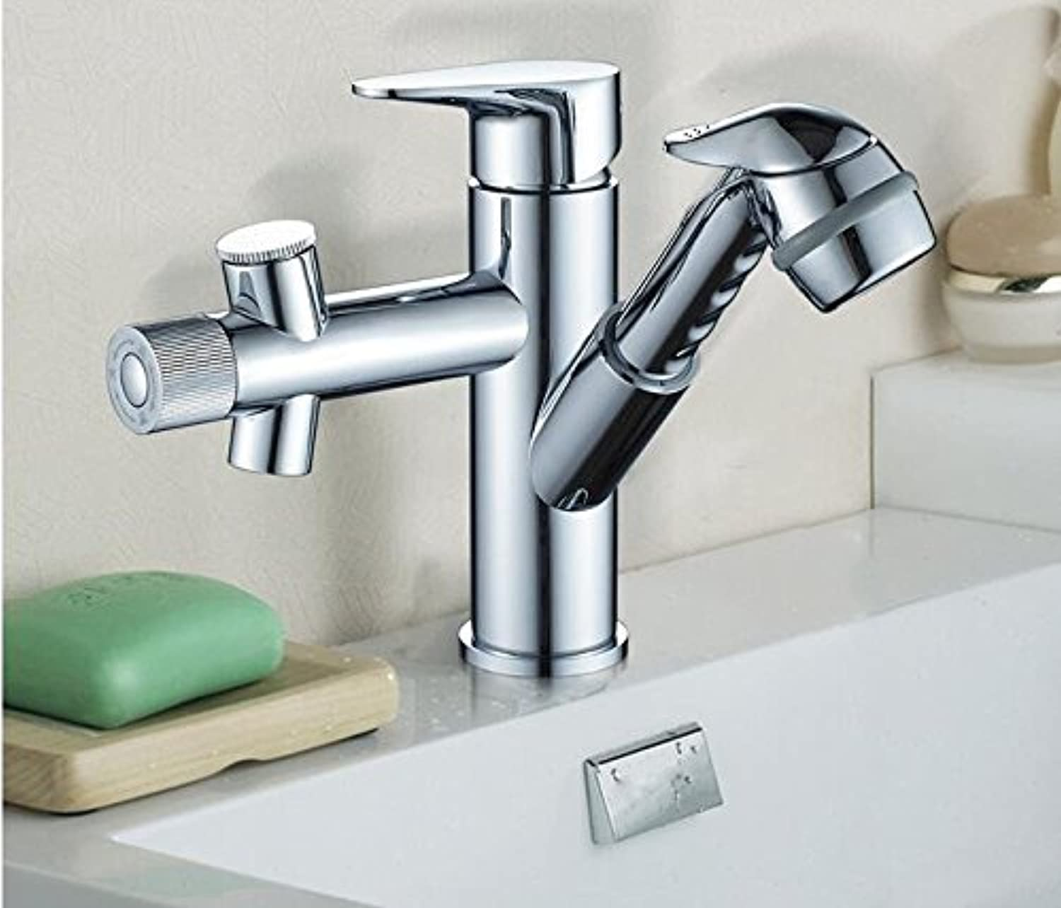 Makej Copper Bathroom Faucet Waterfall Pull Out Water Tap Wash Face Basin Mixer Taps Cold and Hot Chrome Toilet Faucet