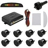 KT SUPPLY RA8B, Sistema de ayuda al aparcamiento automático Kit de exhibición de LED de Beeper Digital, 8 Sensores, Negro