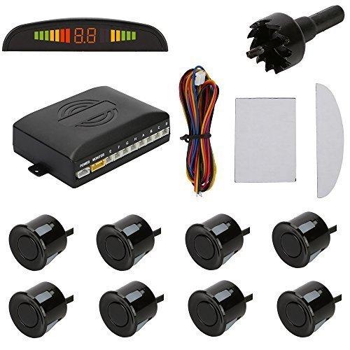 TKOOFN KFZ Summer Einparkhilfe Rückfahrhilfe 8 Sensoren 4 vorne 4 hinten Hinter mit LED Farb Display Auto Parken Sensor System Pieper Radar Schwarz