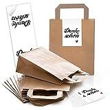 10 kleine braune Papiertüte Geschenktüte 18 x 8 x 22 cm Papiertasche + 10 DANKE-SCHÖN rot weiß...