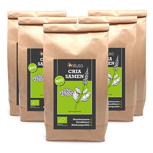 mituso Bio Chia seeds, pack of 5 (5 x 1000g)