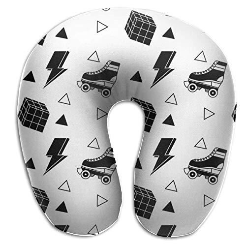 Almohada para el Cuello Patín de Ruedas y Cubo Rubik en Forma de U Almohada de Viaje Diseño ergonómico Contorneado Funda Lavable