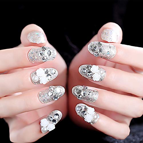 Rpbll Wholesales Distributor price 24 PCS Gorgeous 3D Rhinestone Silvery Glitter False Nails With Glue White Flower Long Fake Nails As show
