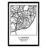 Blatt Lissabon Stadtplan nordischen Stil schwarz und weiß.
