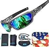 Qool Times Mens Fishing Sunglasses Polarized for Women, Green REVO UV400 Medium-Large Fishing Volleyball Baseball Running Driving Golfing Cycling Full Pack Case Pouch Face Cover Scarf and Strap