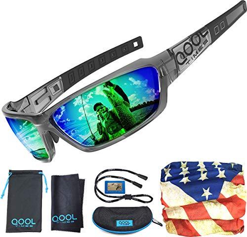 QOOL TIMES Mens Fishing Sunglasses Polarized for Women, Green REVO...