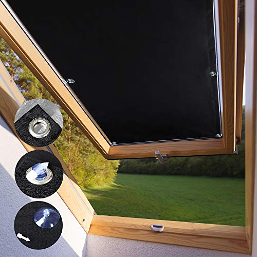 KINLO Sonnenschutz Dachfensterrollo 48 x 93cm - F06 Und 206 Beschichtung für Velux Dachfenster UV Schutz Thermo Rollo mit Sucker Struktur + 7 stabil Saugnäpfe ohne Bohren