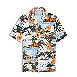 アロハシャツ メンズ 半袖 ハワイ風 プリントシャツ 通気速乾 軽量 花柄シャツ パイナップル 夏 ビーチ ウェディング ウエア オシャレ (XL, フラワー)